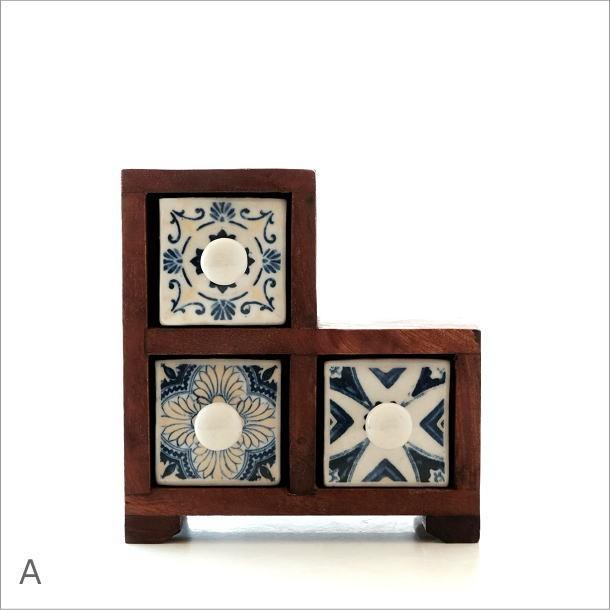 陶器の引き出しミニチェストステア3個 ブルー&ホワイト2タイプ(4)