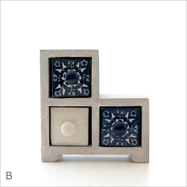 陶器の引き出しミニチェストステア3個 ブルー&ホワイト2タイプ(5)