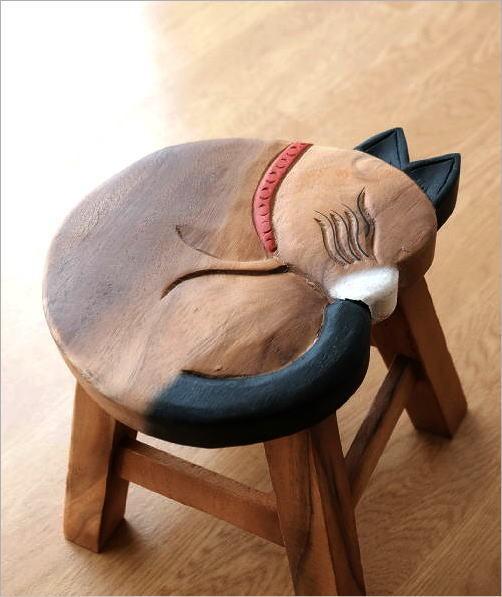 木製スツール 椅子 まる丸ネコさん(2)