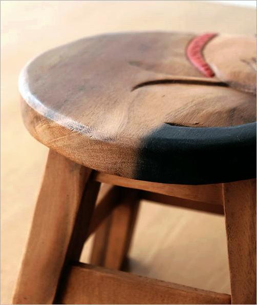 木製スツール 椅子 まる丸ネコさん(3)