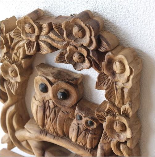 木彫りフクロウの壁掛けA(2)
