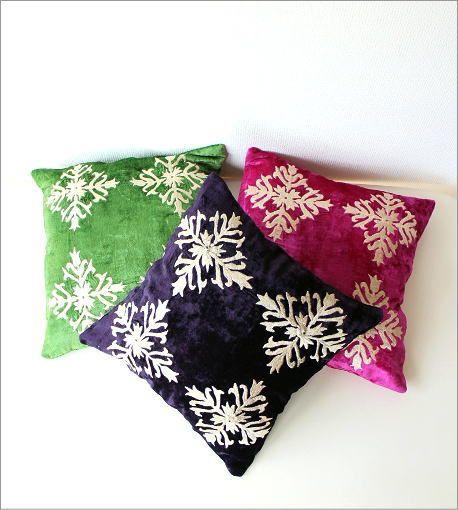 刺繍ベルベットクッションカバー 3カラー(1)