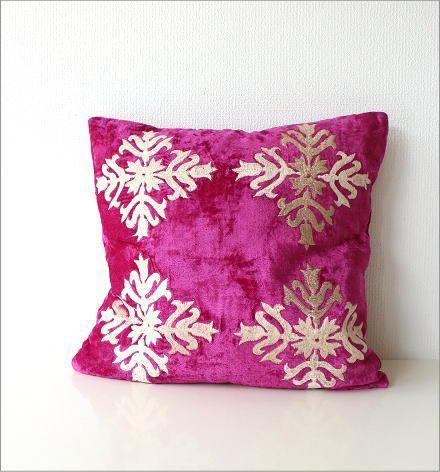 刺繍ベルベットクッションカバー 3カラー(2)
