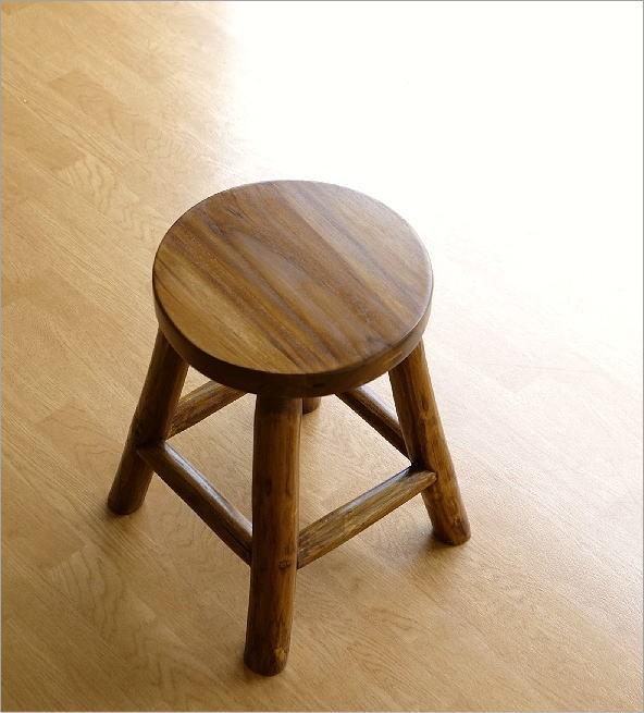木製スツール(木スツール) チーク原木スツール