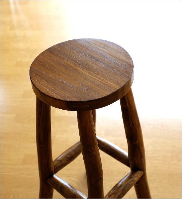 木製スツール(木スツール) チーク原木ハイスツール