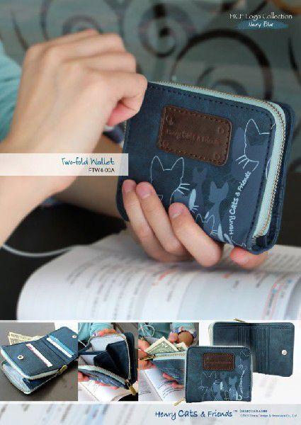 Logoコレクション Nブルー 二つ折り財布