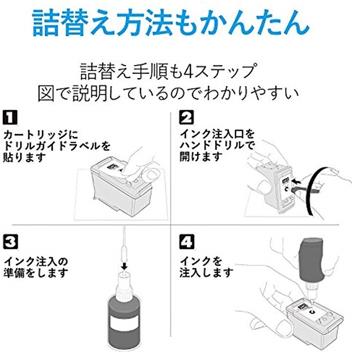 エレコム 詰め替えインク THC-340BK8(顔料ブラック・8回分+専用工具)の商品画像|4