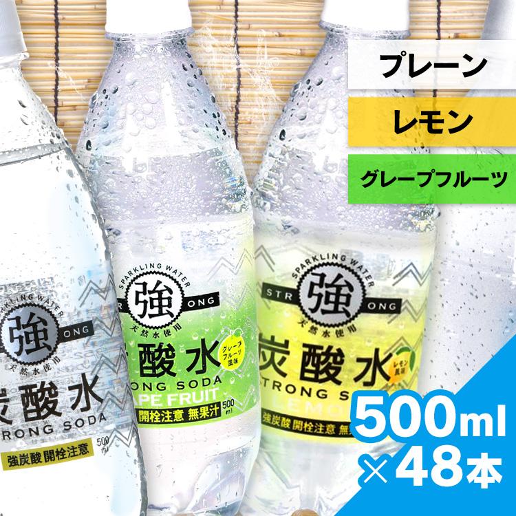 (数量限定) 炭酸水 500ml 48本 送料無料 国産 強炭酸水 レモン プレーン スパークリングウォーター ミネラルウォーター 【代引き不可】