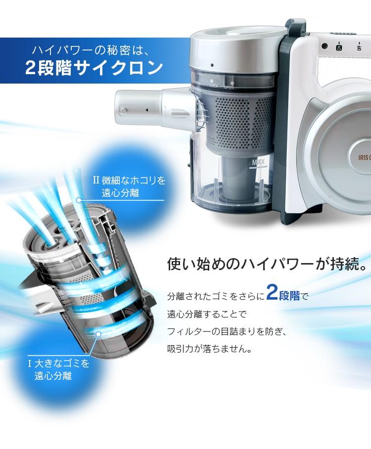 アイリスオーヤマ サイクロンスティッククリーナー IC-S55E-S +ふとん用クリーナーヘッド CH-F1の商品画像 2
