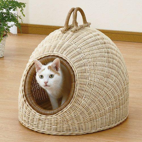 籐ペットハウス 猫用 猫ちぐら