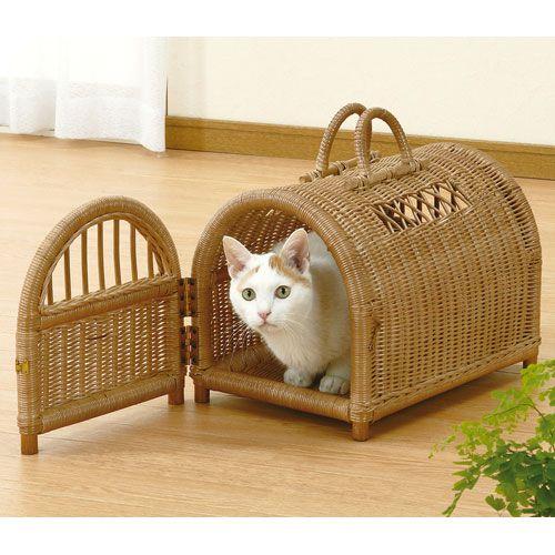 籐ペットハウス 猫用 移動バスケット