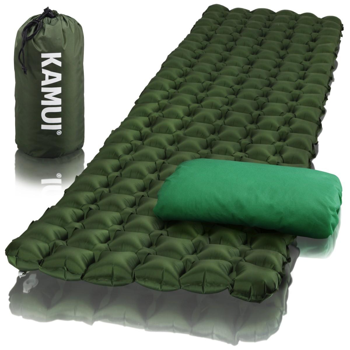 エアー パッド スリーピング キャンプ マット 軽量 コンパクト バックパッキング 防災 枕 カバー 修理パッチ グリーン