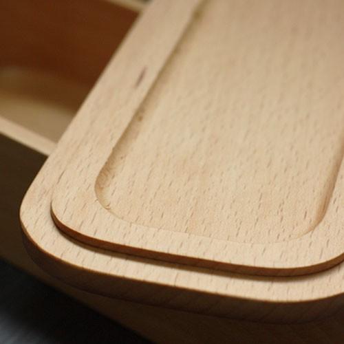 お弁当箱 おしゃれ くりぬき 長角スリム 1段 約500cc バンド付き ブナの木 ランチボックス 木のべんとう箱 運動会