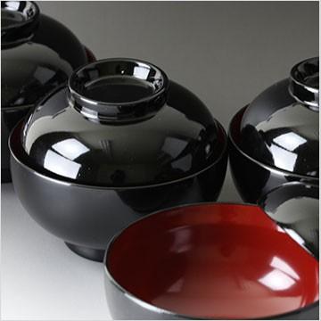 くりぬき木製フタ付雑煮椀 黒塗り内朱 直径約13.5cm 5客セット