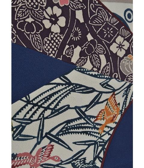 栗山吉三郎紅型染め「切ばめ」創作袋帯・紺色