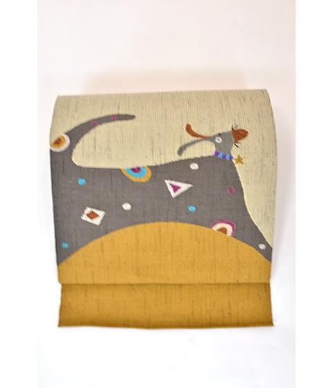 帯匠丹波屋手織り八寸名古屋帯「星の首飾り」犬柄