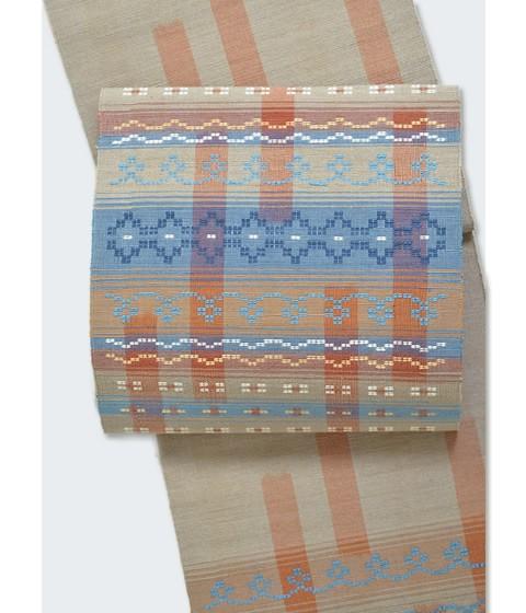 「現代の名工」秋山眞和作 綾の手紬染織工房 手織り草木染花織八寸名古屋帯