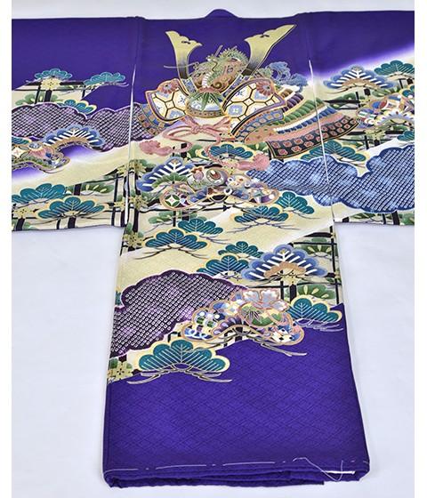 紫かぶと松 友禅絞り 桐竹鳳凰地模様