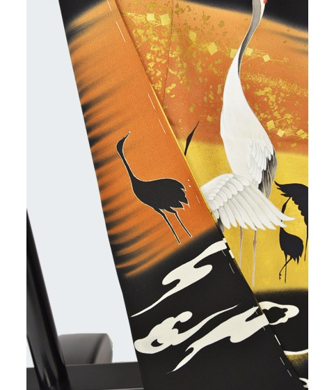 京の老舗染匠「久保耕謹製」正絹手描き友禅逸品黒留袖・群鶴・泥金彩友禅