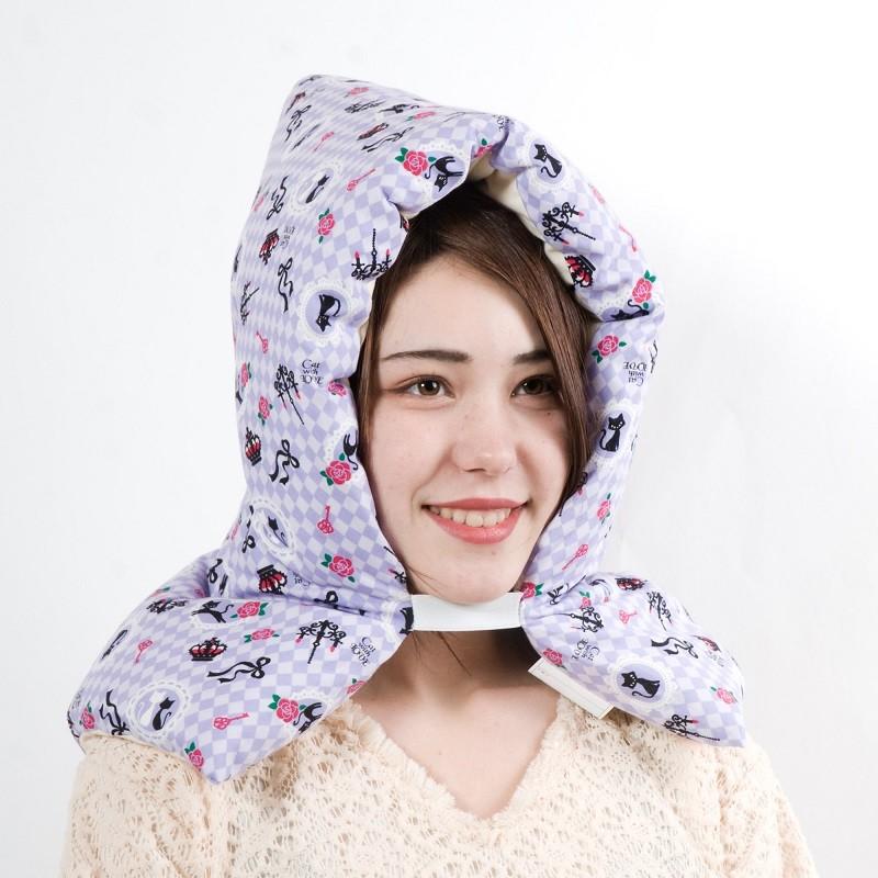防災ずきん/新しい綿を使用したこだわりの綿100%/防災頭巾/可愛い/ネコ/パープル/日本製 小学生〜大人用 防災ずきん 低学年から高学年  日本製