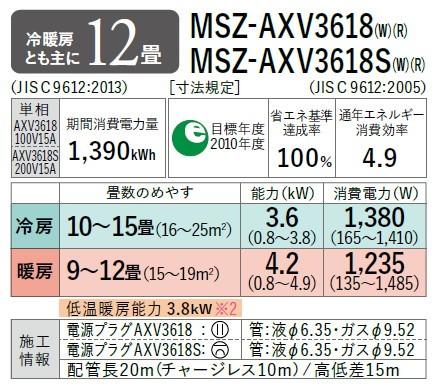 霧ヶ峰 MSZ-AXV3618-W (パウダースノウ)の商品画像|2
