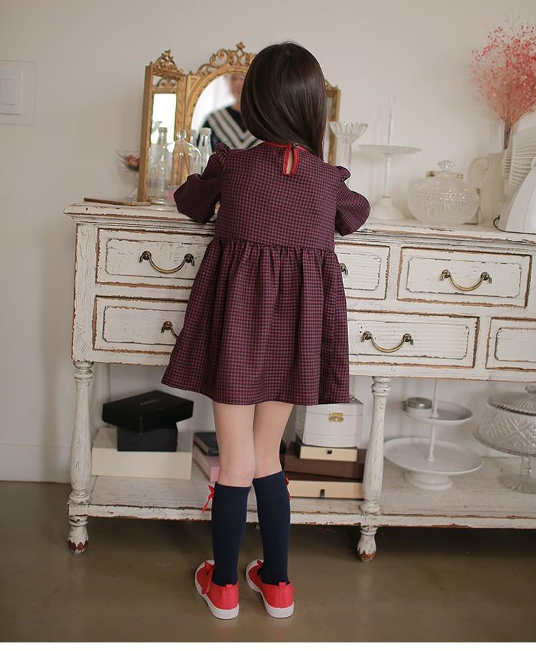 e425847e166b7 おしゃれなチェックの七分袖ワンピースです。 大きいリボンが魅力的で女の子らしさ溢れる一品です☆
