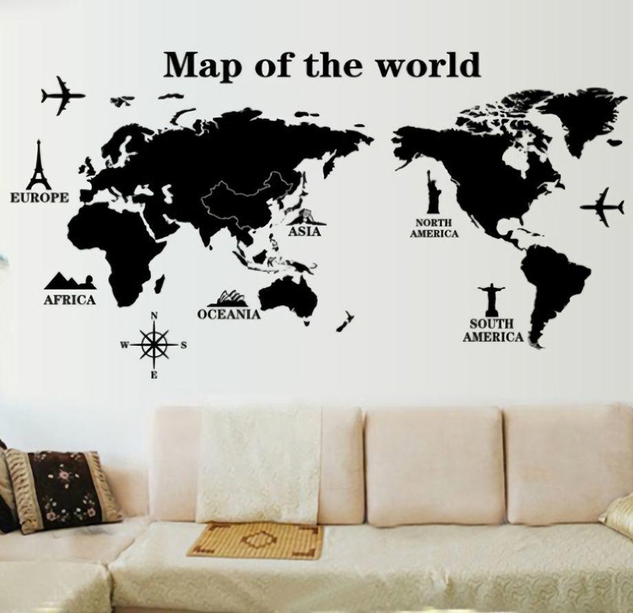 ウォールステッカー 壁紙シール 世界地図 ワールドマップ 英語 折りたたみ発送 ルームデコレーション ウォールデコレーション おしゃれ 壁面装飾 パー Zak おとりよせ Com 通販 Yahoo ショッピング