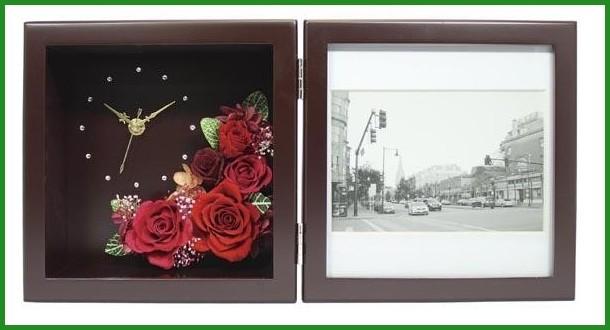 プリザーブドフラワー ピクチャーローズクロック Mサイズ ブラウン F-1908 (ピンク)の商品画像|2
