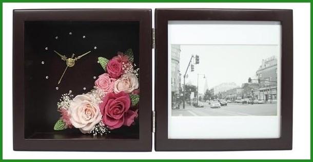 プリザーブドフラワー ピクチャーローズクロック Mサイズ ブラウン F-1908 (ピンク)の商品画像|3