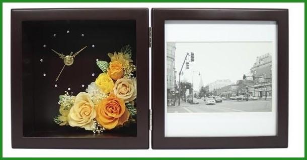 プリザーブドフラワー ピクチャーローズクロック Mサイズ ブラウン F-1908 (ピンク)の商品画像|4
