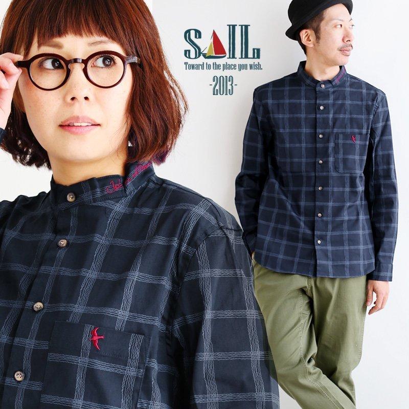 シャツ 長袖 トップス バンドカラー 変形 チェック ストレッチ 配色 ワンポイント メッセージ ツバメ つばめ 刺繍