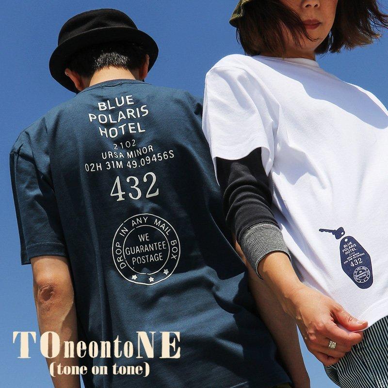 PATY トップス Tシャツ ティーシャツ 半袖 クルーネック BLUE POLARIS HOTEL 前後 プリント 米綿