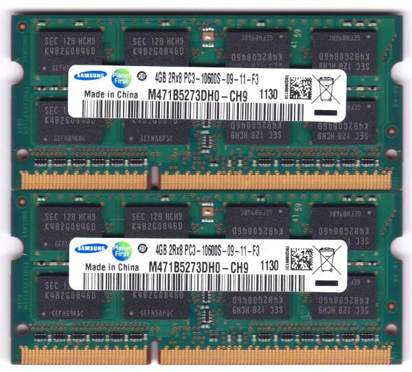 SAMSUNG PC3-10600S (DDR3-1333) 4GB x 2枚組み 合計8GB SO-DIMM 204pin ノートパソコン用メモリ 両面実装 (2Rx8) の2枚組 動作保証品の商品画像|ナビ