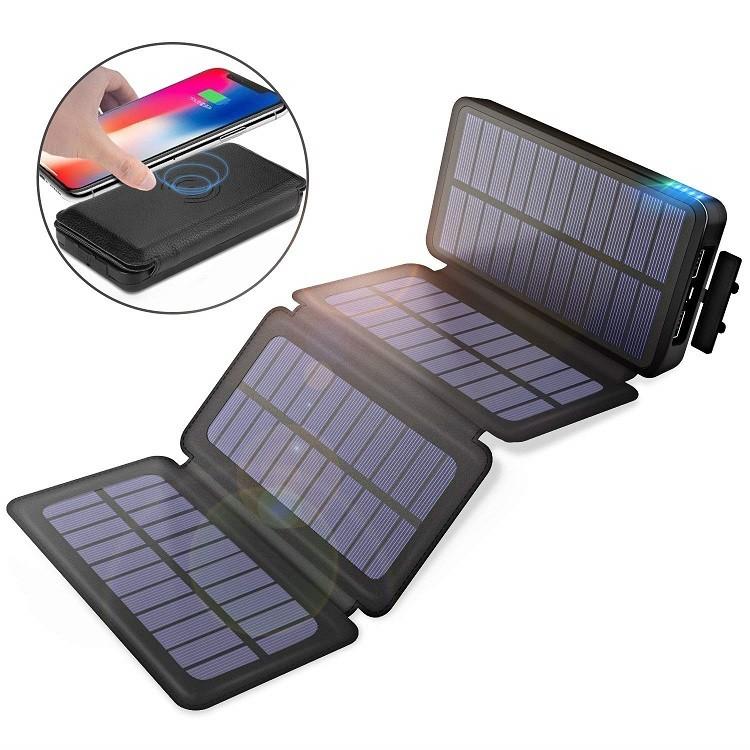 入荷次第の発送。モバイルバッテリー ソーラーチャージャー 20000mAh Qi ワイヤレス充電器 大容量 急速充電 QuickCharge 2USB出力ポート LEDランプ搭載 太陽光