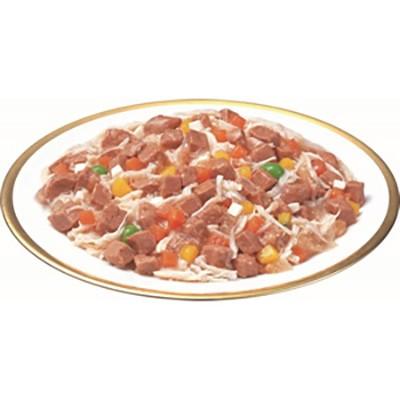 いなば 3個パック 犬用 ビーフと緑黄色野菜 チーズ・ささみ入り入り(70g×3)×1個の商品画像|2