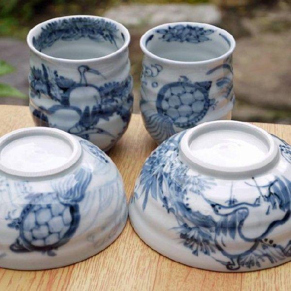 鶴亀長寿夫婦茶碗 瑞昭