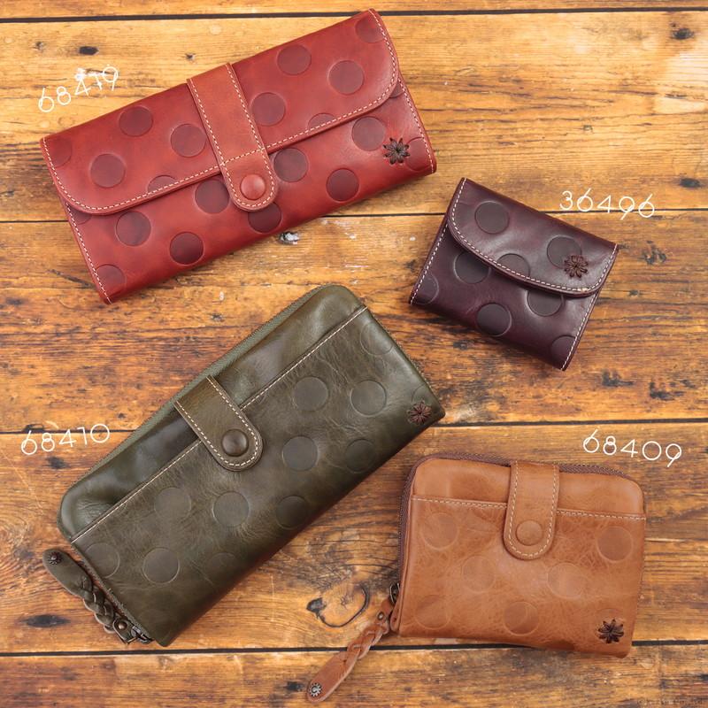二つ折り財布 レディース N's Project エンズプロジェクト 牛革 ドット型押し Josephineシリーズ