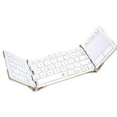 タッチプラス タッチパッド付BLuetoothキーボード 3つ折りタイプ ホワイト(1コ入)