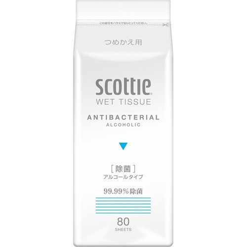 スコッティ ウェットティシュー 除菌 アルコールタイプ つめかえ用(80枚入)