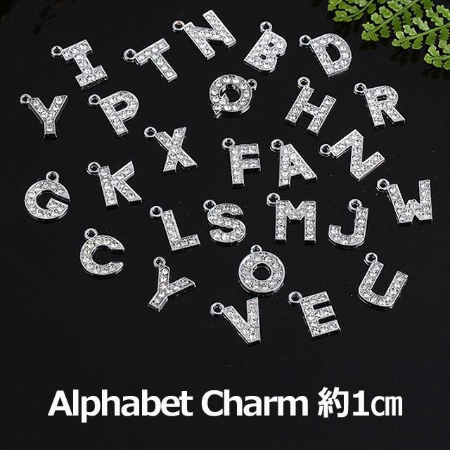 アルファベット チャーム シルバー キーホルダー イニシャルパーツ ファスナー パーツ キーホルダー 3cm