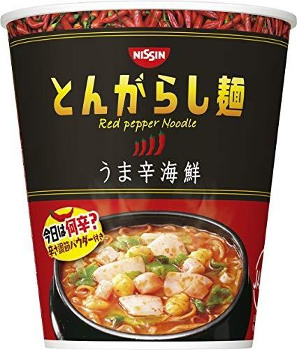 日清食品 日清のとんがらし麺 うま辛海鮮 64g×12個の商品画像|2