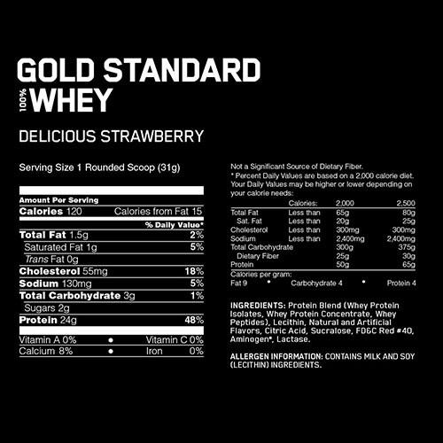 オプティマム ゴールドスタンダード 100%ホエイ デリシャスストロベリー 10lbsの商品画像|2