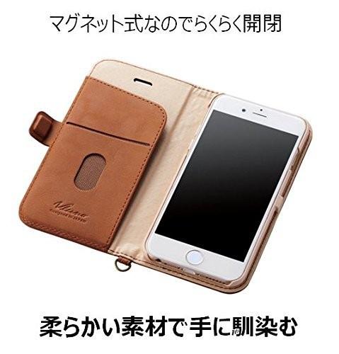 iPhone 6s用 ソフトレザー 磁石タイプ ブラウン PM-A15PLFYBRの商品画像|3
