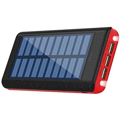 RuiPu ソーラーチャージャー モバイルバッテリー 大容量 24000mah 二個LEDランプ搭載 急速充電対応 太陽エネルギーパネル
