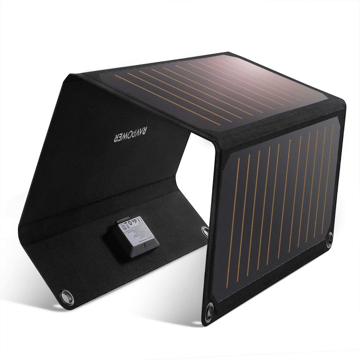 RAVPower ソーラーチャージャー 21W ソーラー充電器 ソーラーパネル 2ポート iPhone XR/XS/XS Max/iPad/Xperia/Android各種対応 防災 キャンプ アウトドア用 RP-