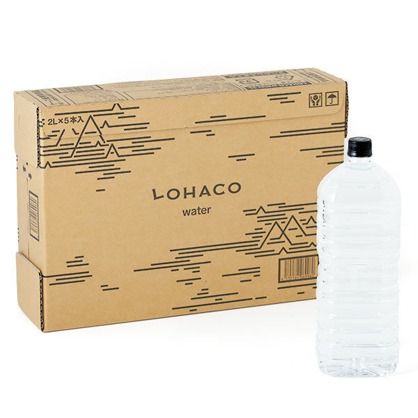 水・ミネラルウォーター LOHACO Water(ロハコウォーター)2L ラベルレス 1箱(5本入)