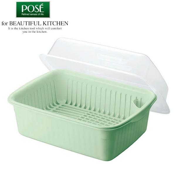 水切りかご Nポゼ フード付 水切りセット (大) グリーン 4308