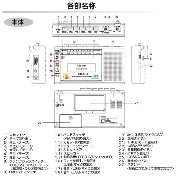 マイクロSD/USB録音対応 コンパクトラジカセ SCT-R225(K) ブラックの商品画像|3