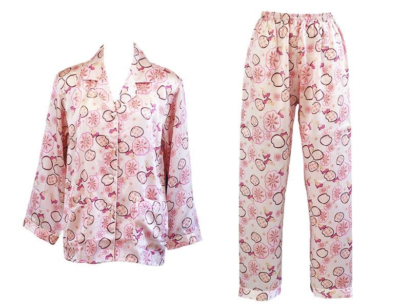 100%シルク 長袖レディースパジャマ ピンクフラワーシャワー ピンク