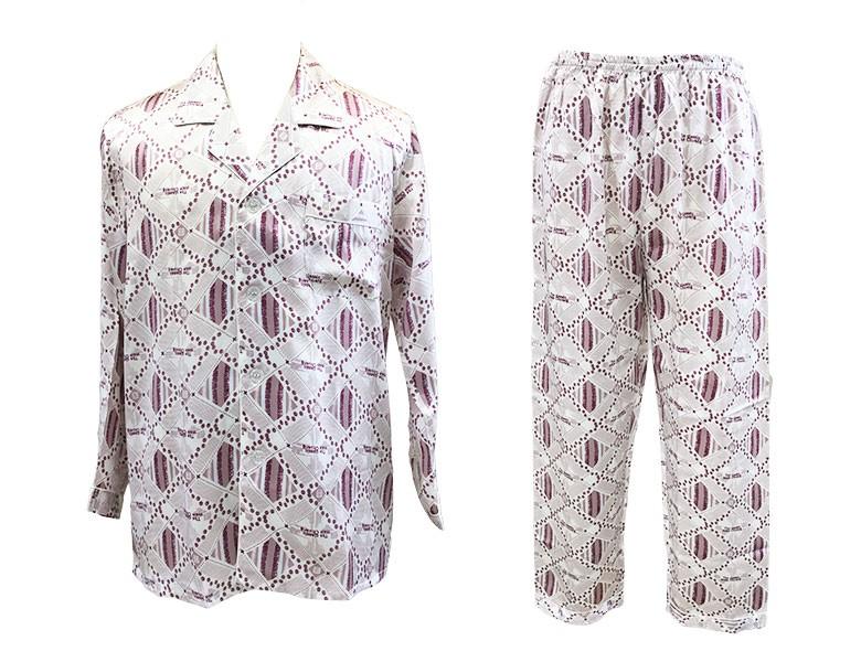 100%シルク 長袖メンズパジャマ ミックス柄 ライトグレー